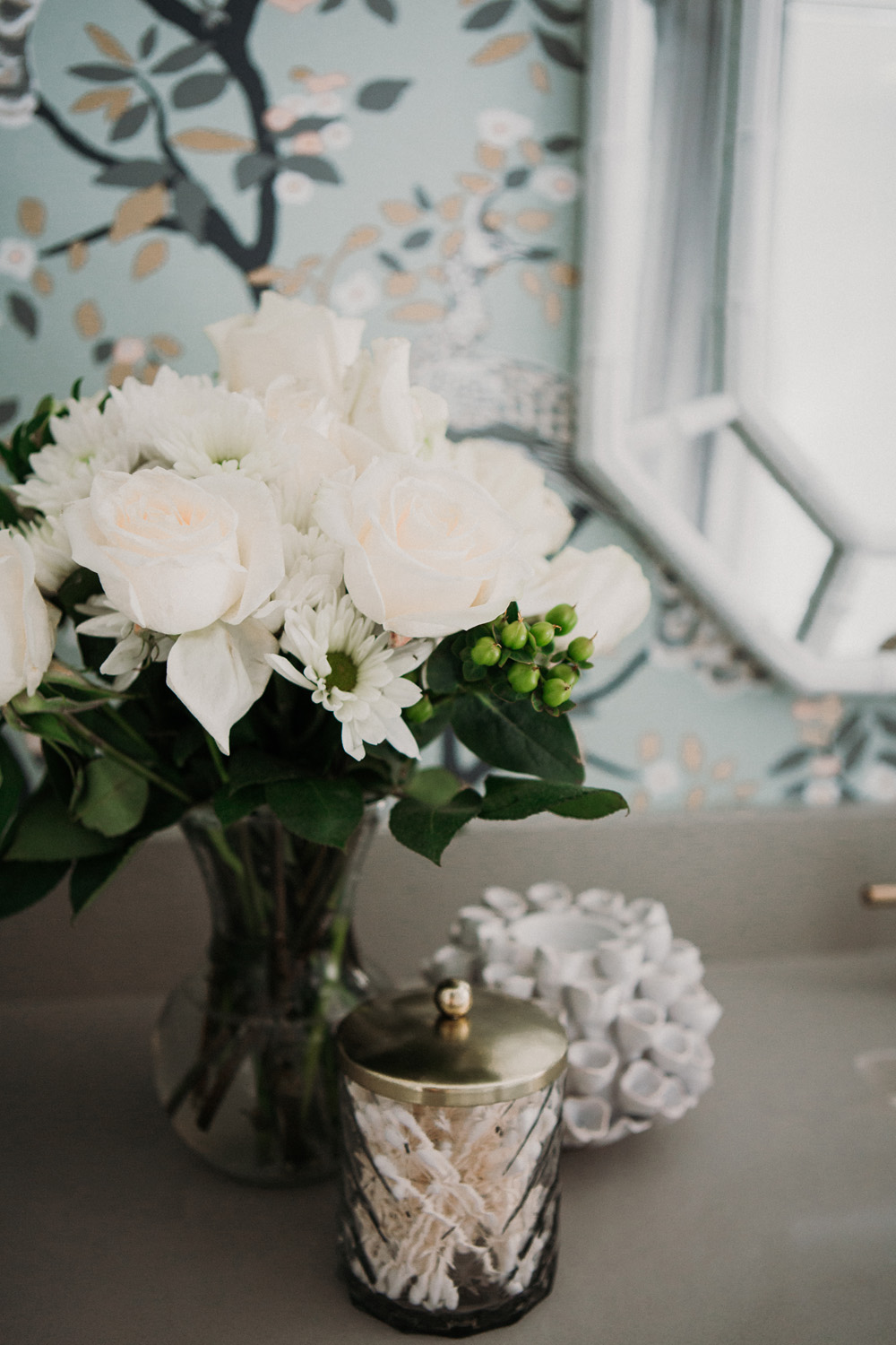 flowers on bathroom counter