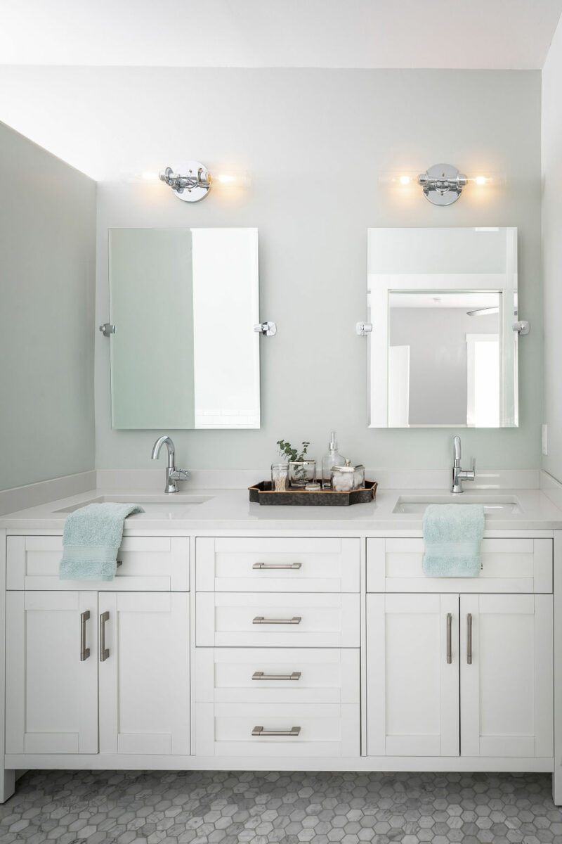 coastal and transitional bathroom vanity in-home design consultation