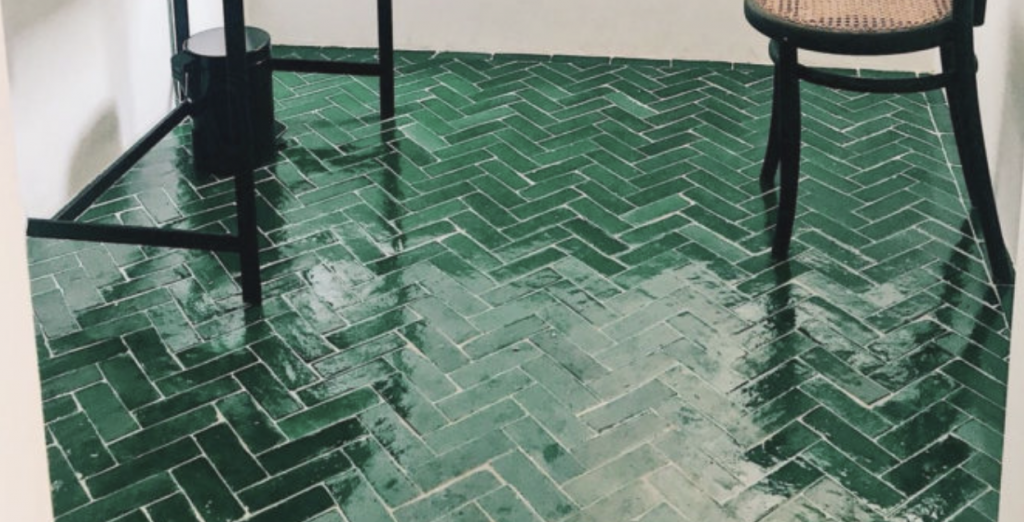 very shiny floor tile