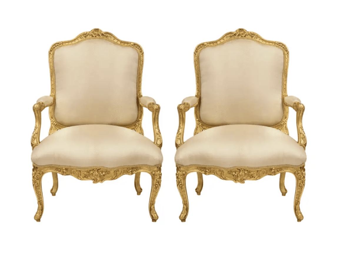 a pair of louis XV chairs are a great example of ornamental curvilinear lines